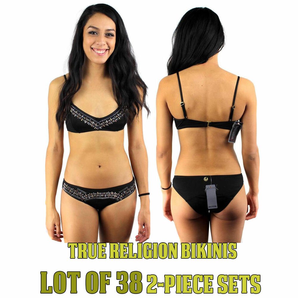 65ced844a2892 Details about True Religion Women's Black Swimwear Bathing Suit Bikini  Wholesale Lot of 38