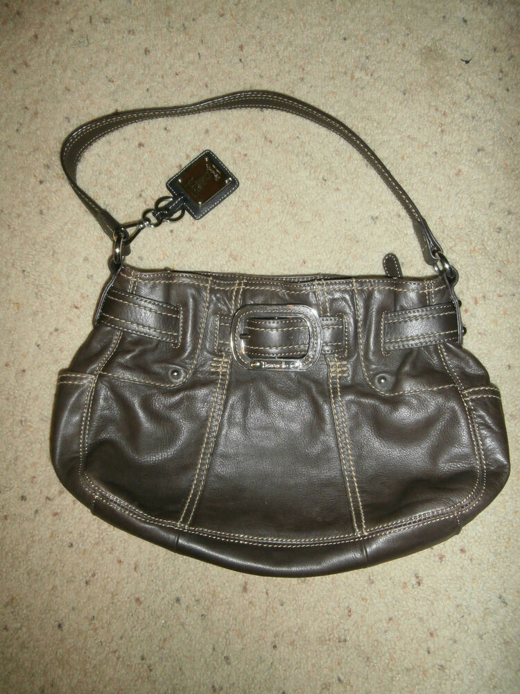 e6aaa6b54b Tignanello Dark Brown Leather Hobo Shoulder Handbag Purse Buckle FOB MINT!