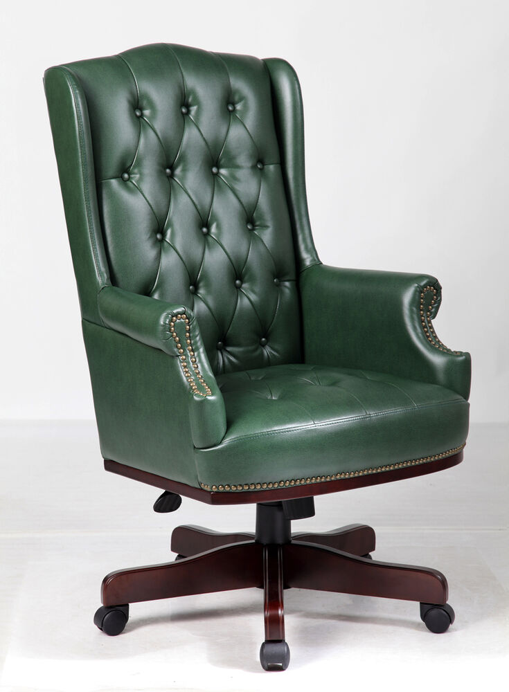 Antique Green Chesterfield Antique Style Captains Leather
