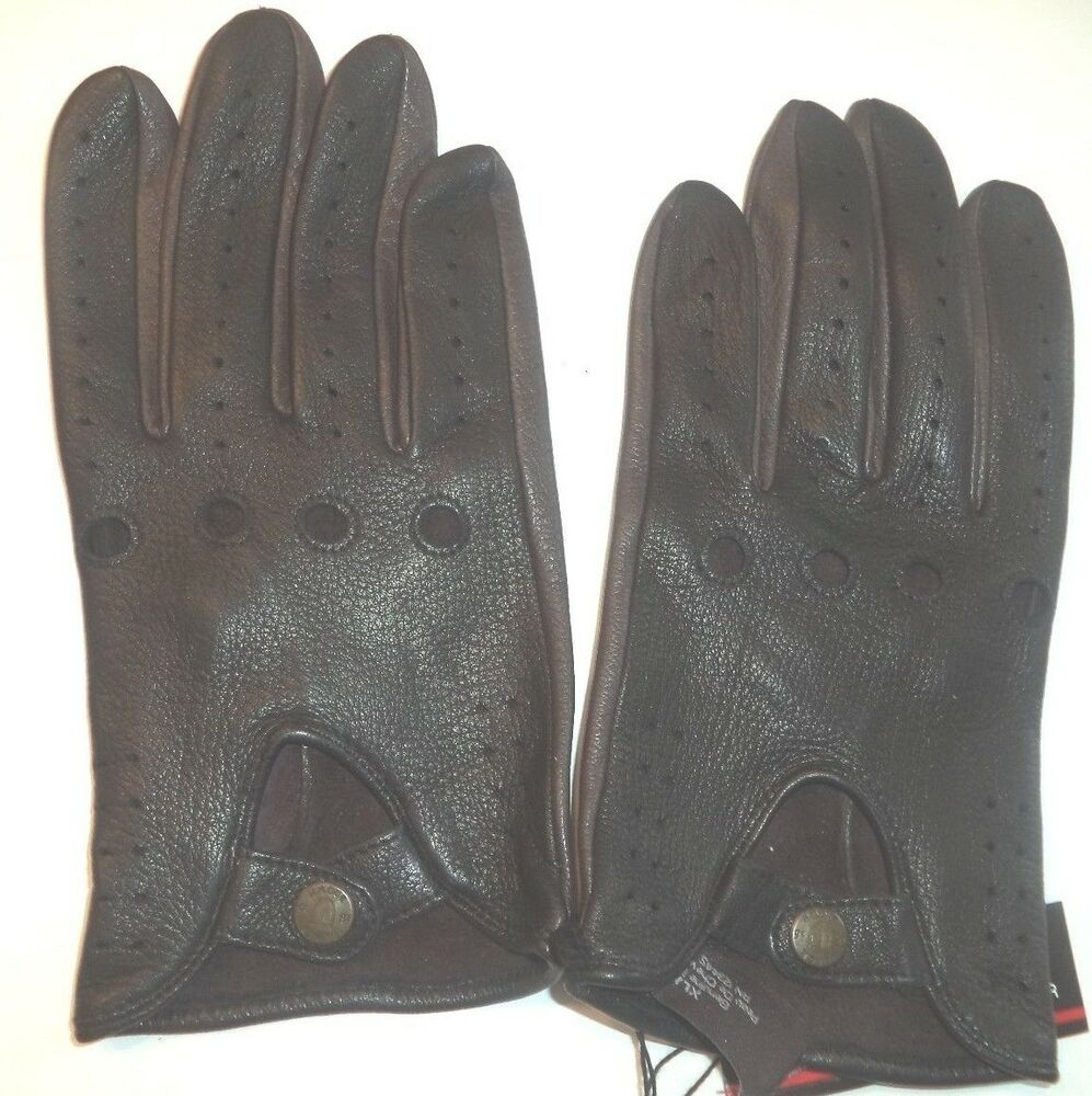 e685383d26c8c Details about Men's Black/Brown Brand Genuine Deerskin Leather Driving  Gloves,Medium