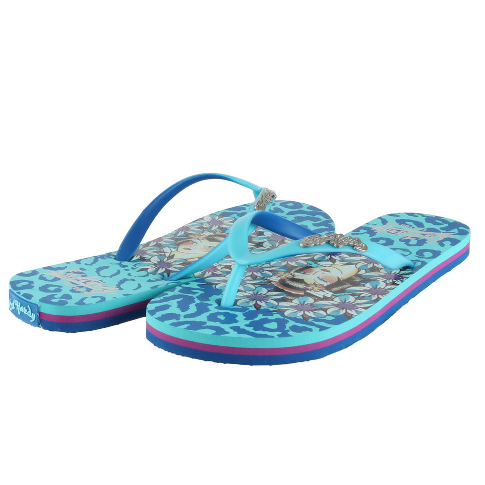 3b4a3d2d772925 Details about Ed Hardy Jungle Flip Flop for Women -Turquoise