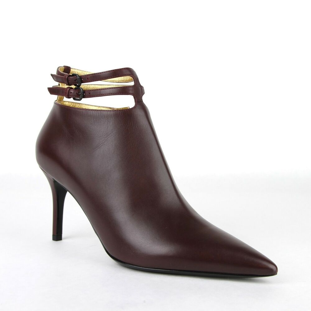 84cedacd9480b0 Details about  990 New Bottega Veneta Women s Dark Mahogany Leather Ankle  Heels 443167 2240
