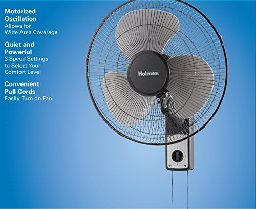16 Inch Wall Mount Fan 3 Speed Oscillating Metal Pull Cord