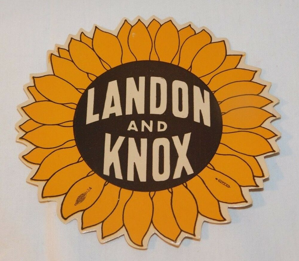 Details about rare old landon knox sunflower political decal sticker