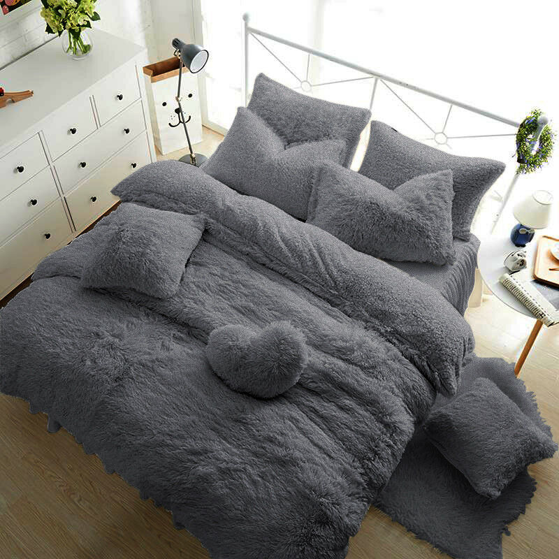 teddy bear fleece duvet cover warm cozy fitted sheet. Black Bedroom Furniture Sets. Home Design Ideas