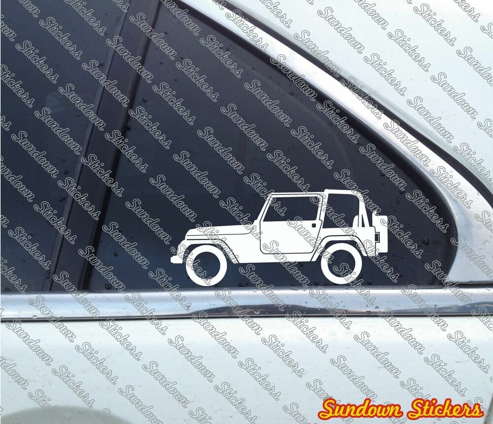 2x Offroad 4x4 Outline Vehicle Stickers Decals For Jeep Wrangler Yj Classic Ebay