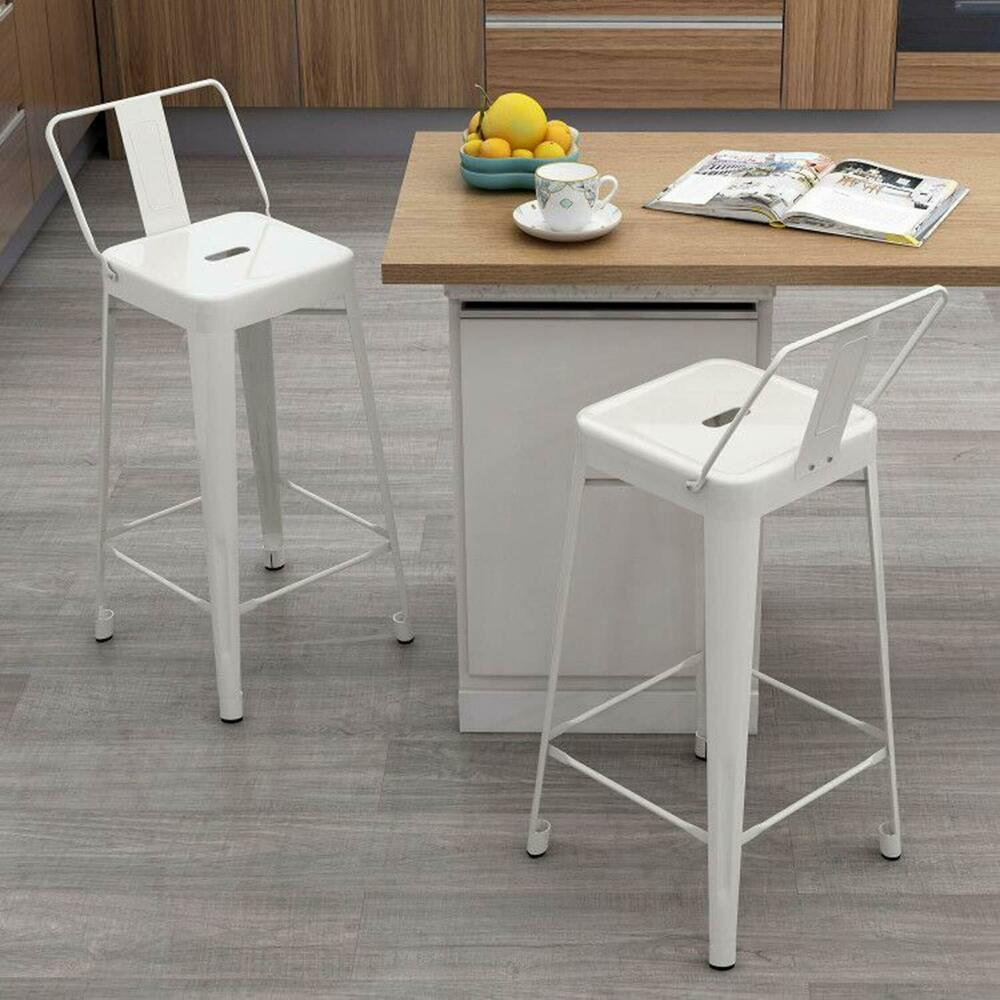 Set Of 2 Metal Bar Stools Cafe Chairs Low Back Industrial Chair With Back 26inch Ebay