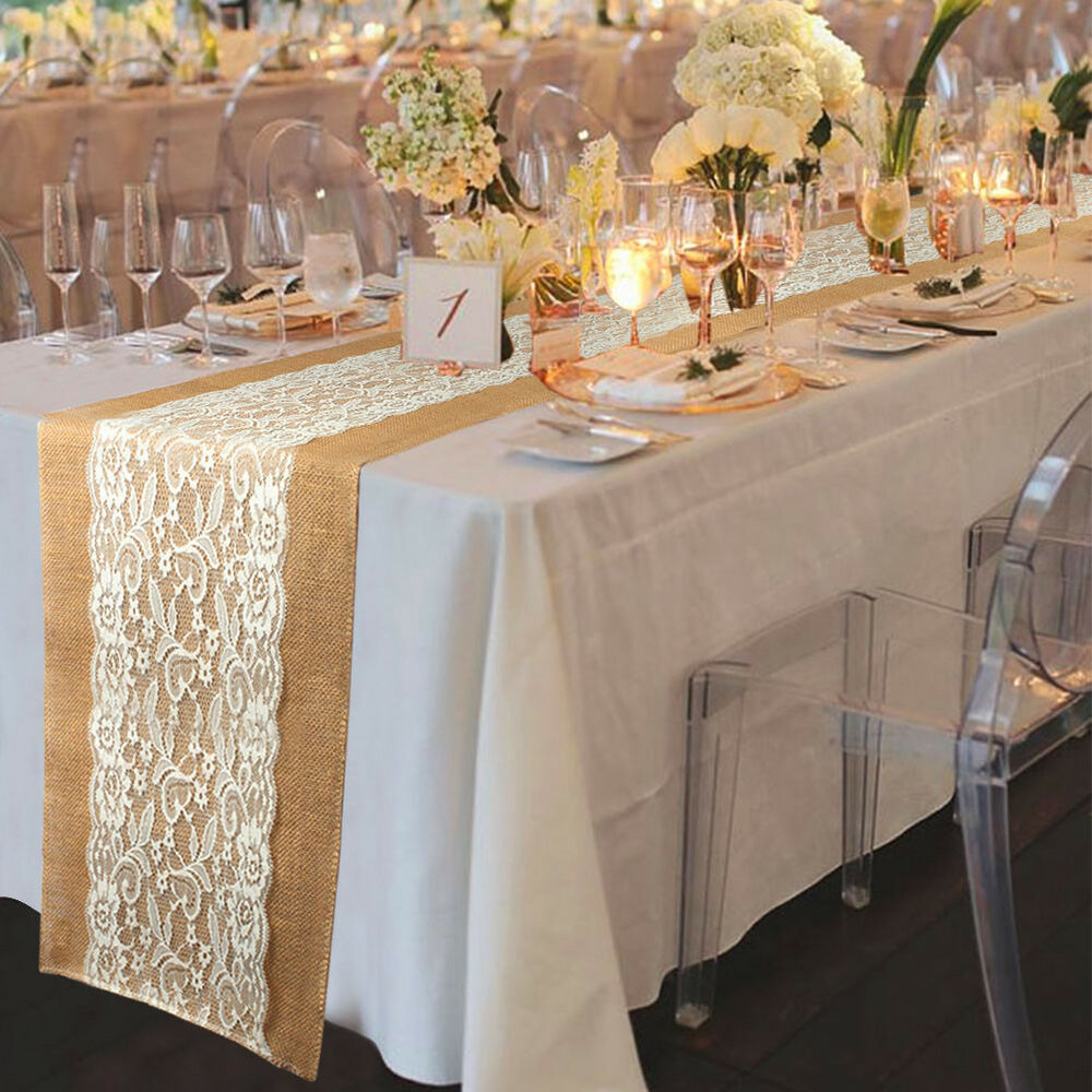 Natural Burlap Lace Hessian Table Runner Wedding Banquet Party Home ...