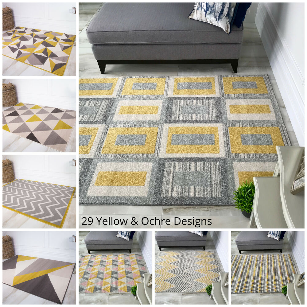 New ochre yellow mustard grey living room rug kaleidoscope - Living room area rugs ...