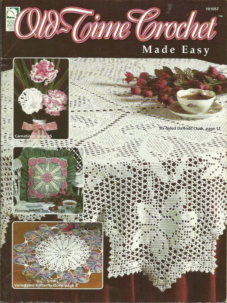 Old TIme Crochet Made Easy Pattern Book Doilies Tablecloth Runners ...