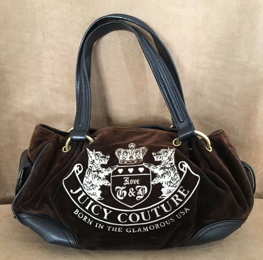 94401772ff76 Details about Juicy Couture handbag Brown velour Born in the USA leather  dreamer hobo purse