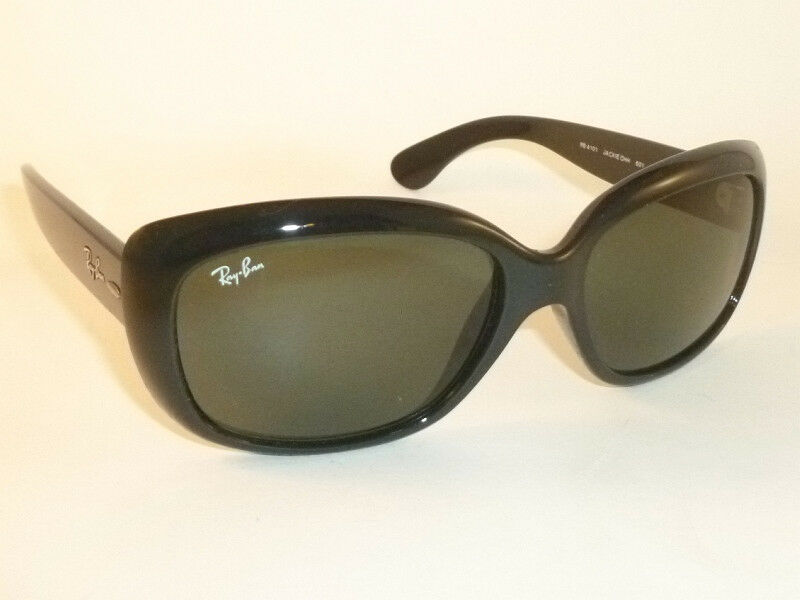 1b7cf1d7cb6 Details about New Ray Ban JACKIE OHH Sunglasses Black Frame RB 4101 601  Green Lenses