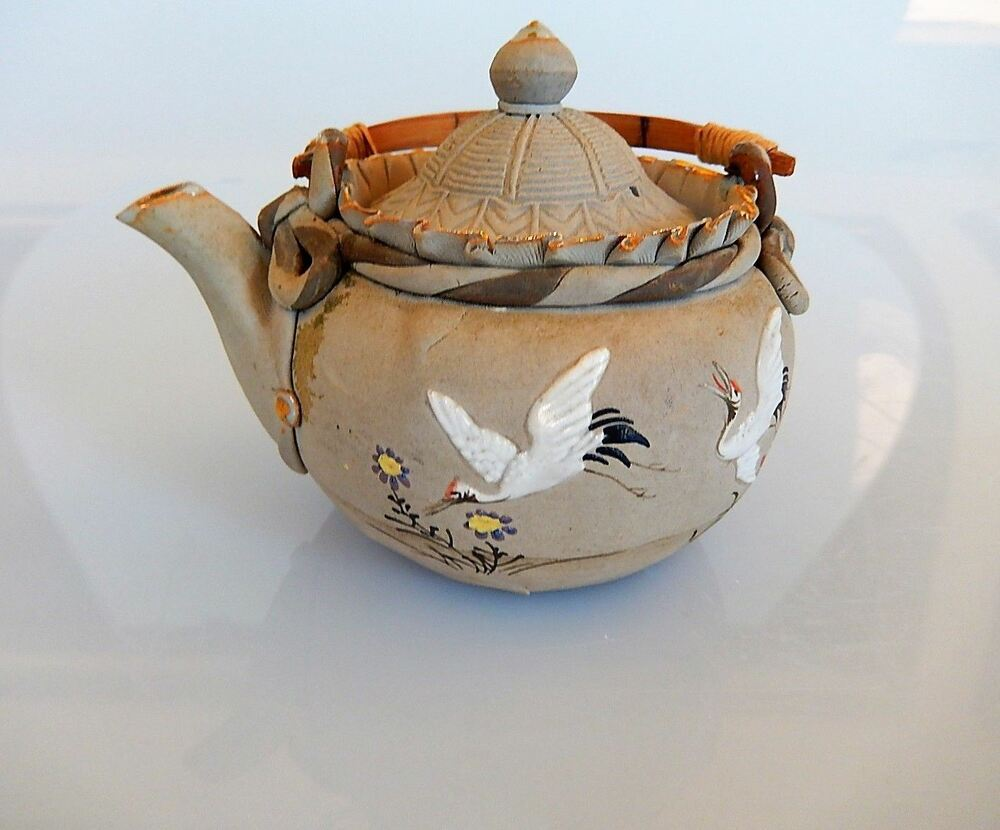 Japanese Banko Pottery Teapot Flying Crane Design Antique