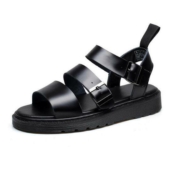 8b2f59b20 Details about Ladies Mens Roman Sandals Ankle Strap Buckle Flat Gladiator  Chunky Shoes Hot