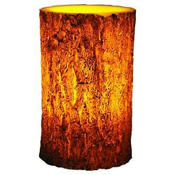 6241 River's Edge LED Tree Bark Candle, 4x6-Inch, Brown