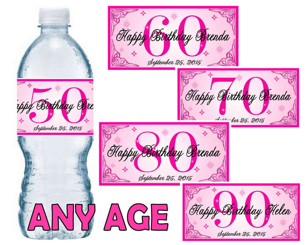 PINK 50TH 60TH 70TH 80TH BIRTHDAY PARTY FAVORS WATER BOTTLE LABELS ...