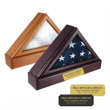 ENGRAVED FLAG CASE NAME PLATE MILITARY MEMORIAL BURIAL CASKET PERSONALIZED USA