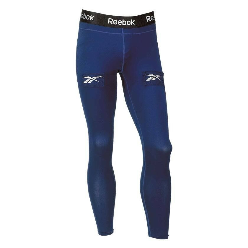 81d4a2ebbfc Details about Reebok hockey Long Pant jock cup loose fit junior large base  layer legging pants