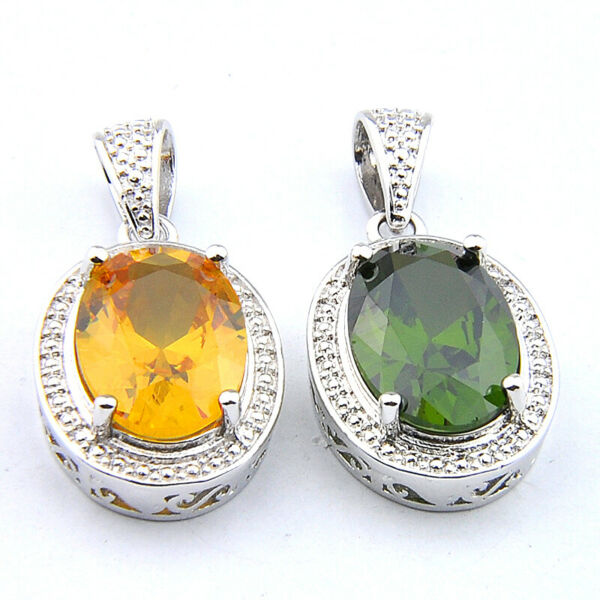 Mixed 2 pcs 1 Lot Golden Citrine Olive Peridot Gemstone Silver Necklace Pendants