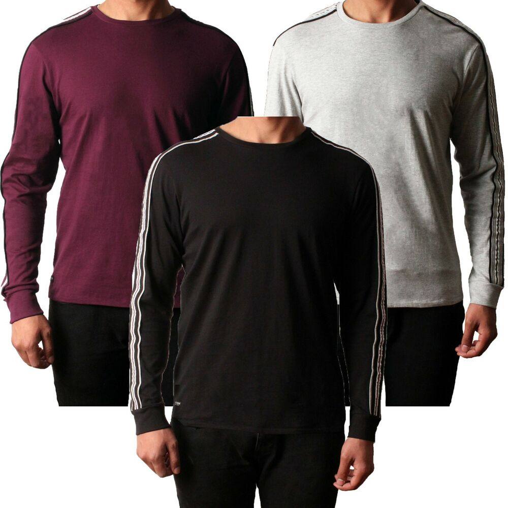 2324e09bfe Details about Mens Threadbare Long Sleeve Cotton Top T-shirt Striped Crew  Neck Casual RACER