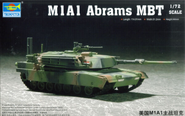 Trumpeter 1/72 (20mm) M1A1 Abrams MBT