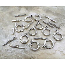 10 Sets of Pewter Mermaid & Waves Toggle Clasps -5156