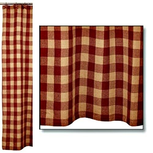 Details About New Primitive Rustic TAN RED CHECKED Check Cotton Burlap Shower Curtain