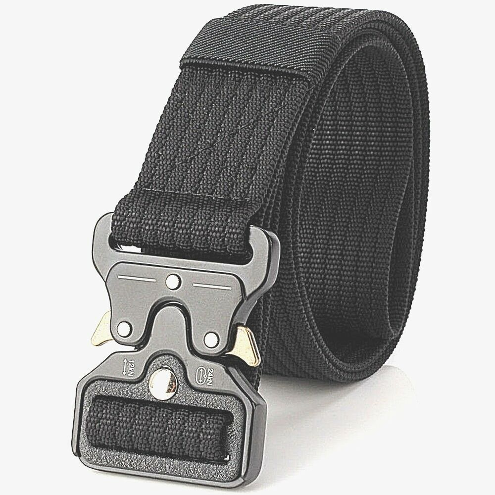 cc1da34f7b1 Detalles de Mens Heavy Duty Military Black Belt Army Tough Buckle Strong  Equipment Tactical