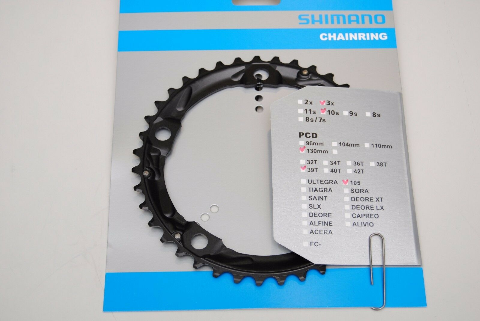SHIMANO 105 5703-L 39T X 130MM 10-SPEED TRIPLE MIDDLE BLACK BICYCLE CHAINRING