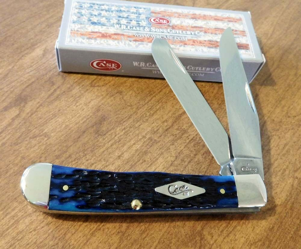 case xx new ocean blue jigged bone handle 2 blade trapper