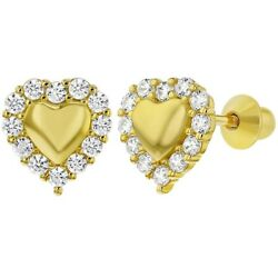 Yellow Gold Flashed 925 Sterling Silver Clear CZ Screw Back Heart Earrings Girls
