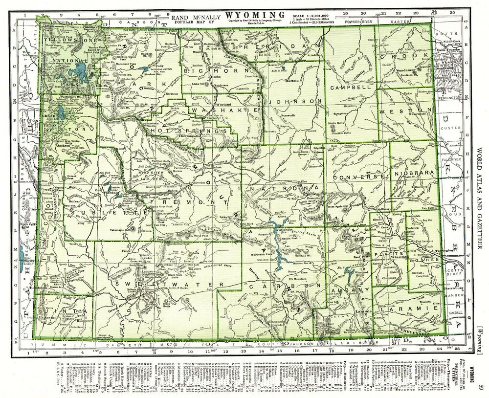 Powder River Wyoming Map.1947 Vintage Wyoming Map Antique Map Of Wyoming State Map Gallery