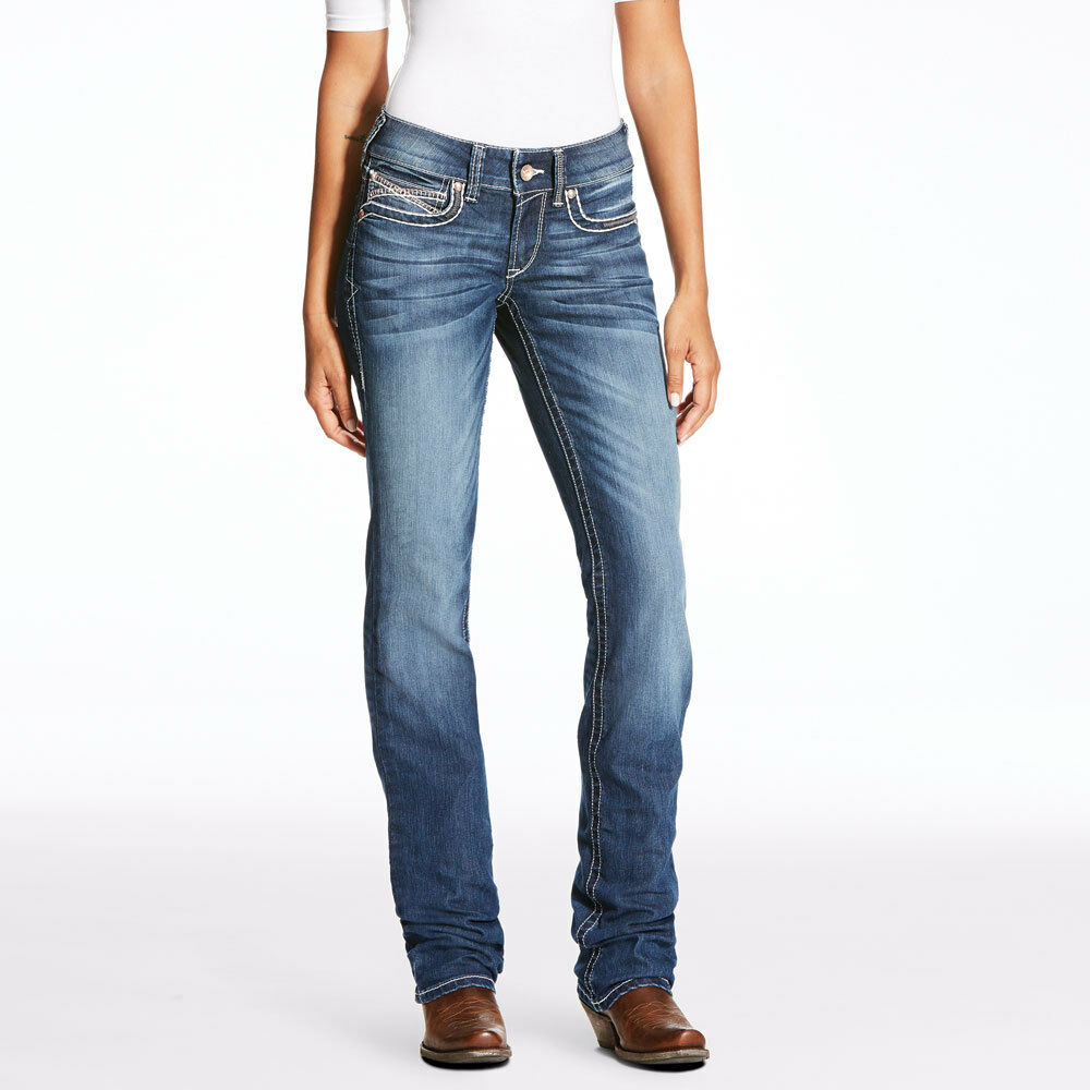 22c3aedb18b7 Details about 10023496 Ariat Women s REAL Mid Rise Straight Leg Cascade  Jeans NEW