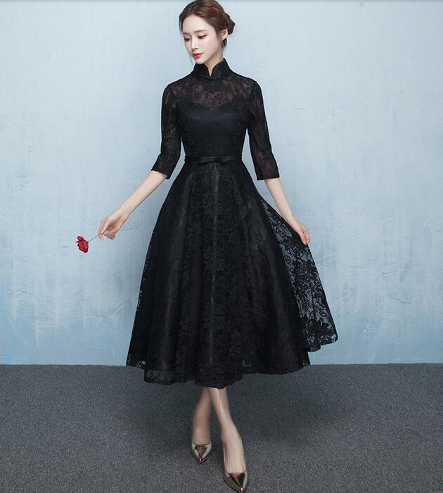 cab7f190b23 Details about Chinese Style Black Lace Floral Long Sleeve Dresses Ladies  Formal Cocktail Gown