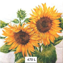 Kyпить (470) TWO Individual Paper Luncheon Decoupage Napkins - SUNFLOWERS, FLOWERS на еВаy.соm