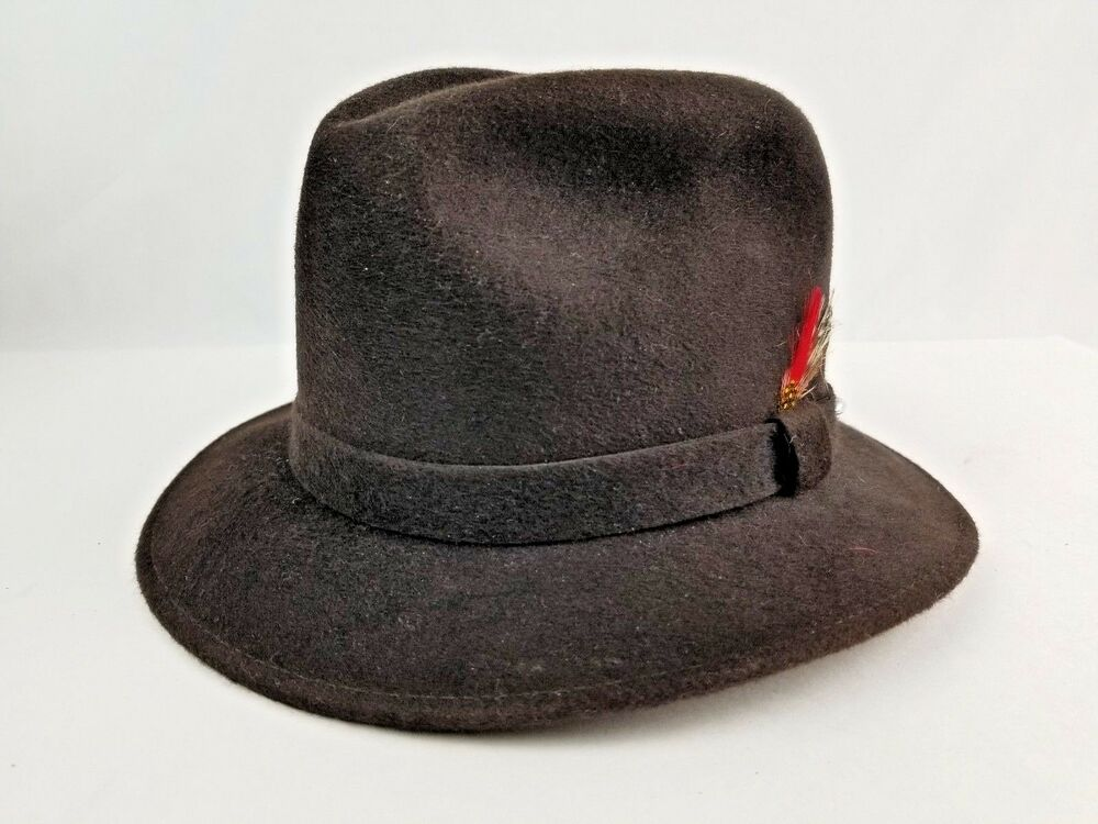 Details about New Unworn Bollman Futura II Brown Wool Men s Fedora Feather Hat  Small USA made 93604f9328a