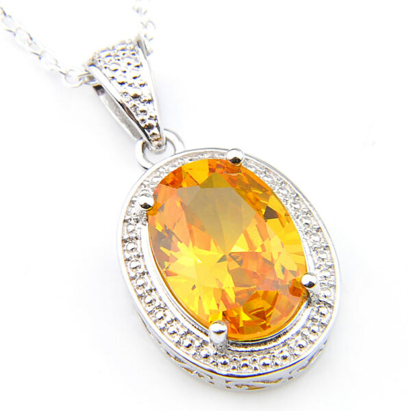 18.5 Cts Oval Shaped Natural Golden Citrine Gemstone Silver Necklace Pendants