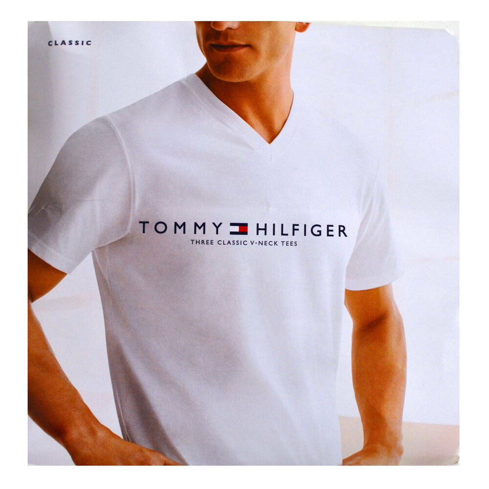7d2a9423 Details about Tommy Hilfiger Mens Undershirts 3 Pack V-Neck T-Shirt White  Xl Short Sleeves New