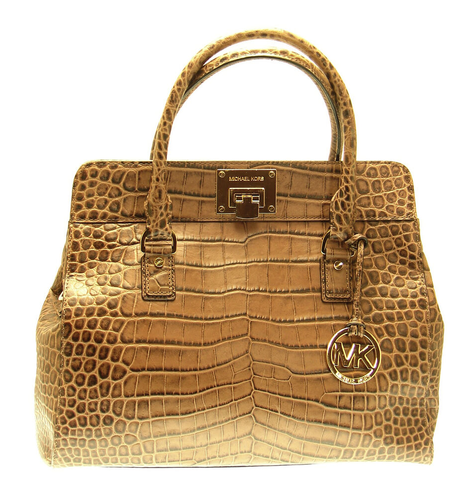 a00aac282261 Details about MICHAEL KORS Brown Croc Embossed Leather Large ASTRID Tote  Satchel Handbag