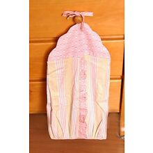 New Beautiful Dots and Stripes Ruffle Trim Infant Baby Diaper Stacker-Pink