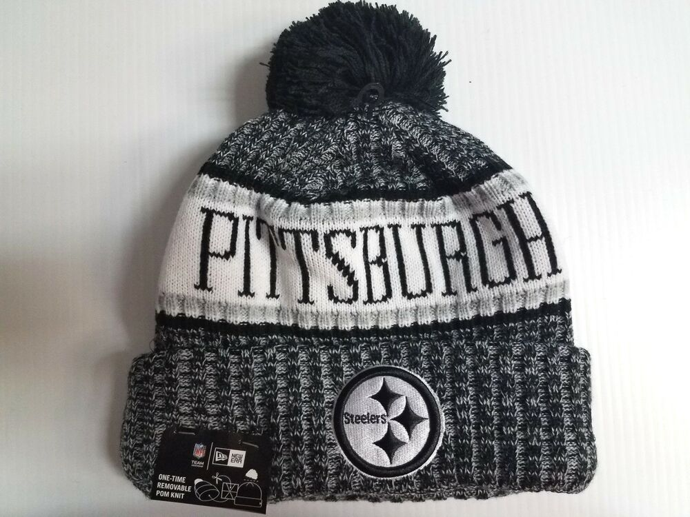 7147a92e46ccbe Details about Pittsburgh Steelers New Era Knit Hat Black 2018 Sideline  Beanie Stocking Cap