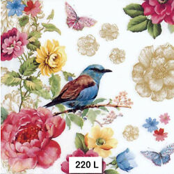 (220) TWO Individual Paper Luncheon Decoupage Napkins - BIRD, FLOWERS BUTTERFLY