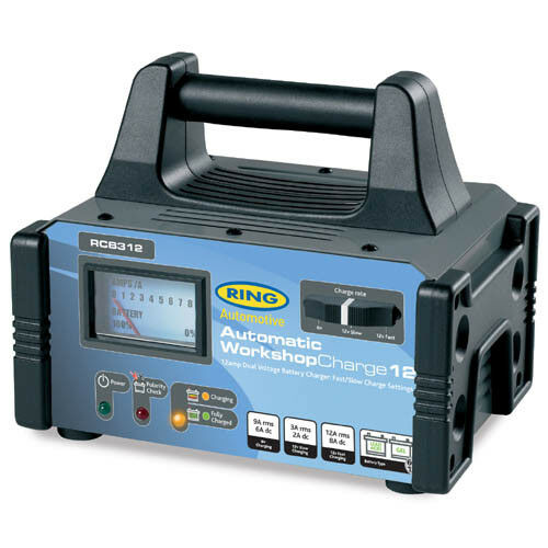 Ring WorkshopCharge12 Fully Auto Battery Charger Metal Case 6/12V 12A RCB312