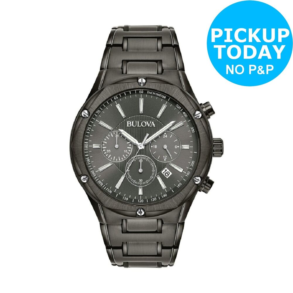 b106d32af8a Details about Bulova 98B286 Men s Black IP Stainless Steel Bracelet Chronograph  Watch.