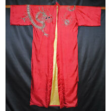 VINTAGE JAPANESE DAZZLING EMBROIDERED THREE TOED DRAGON SILK KIMONO