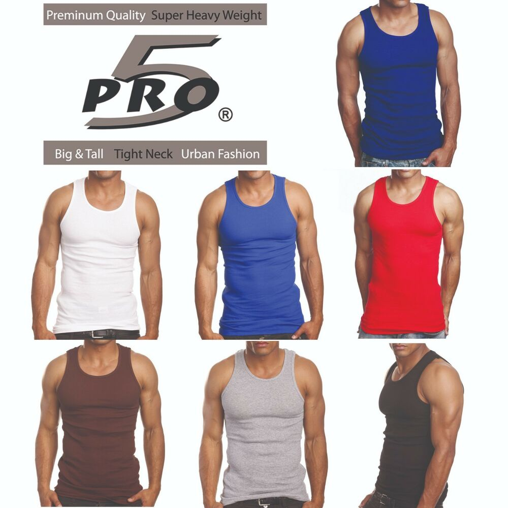 fd4d428899f7c Details about Pro 5 Men s Casual Basic Classic Wife Beater Undershirt  Muscle Tank Top
