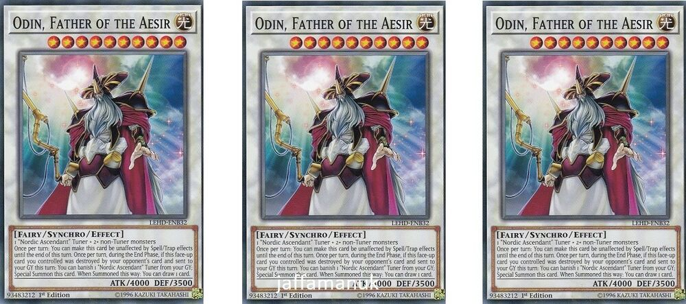 3 x Odin Father Of The Aesir LEHD-ENB32 Common 1st Ed  YUGIOH Cards