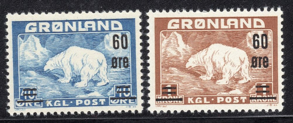 Greenland Stamps 39 40 Polar Bear Surcharge 1956 Mint Ebay