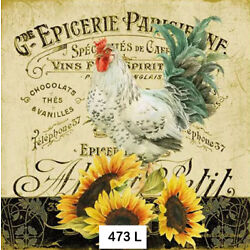 Kyпить (473) TWO Individual Paper Luncheon Decoupage Napkin - ROOSTER SUNFLOWERS FRENCH на еВаy.соm