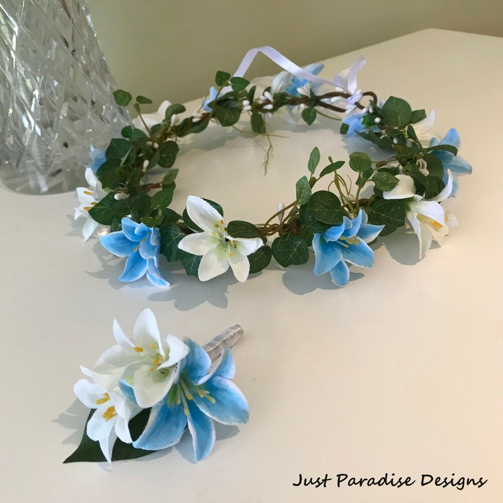 Details about Flower Halo Flower Crown and Button Hole - Blue and White  Mini Lily 1d71c36cce4